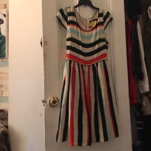 Anthropologie Maeve Watercolor stripe dress